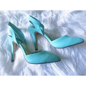 0538f1985 Charlotte Russe Mint Seafoam Green Heels Shoes 6💚